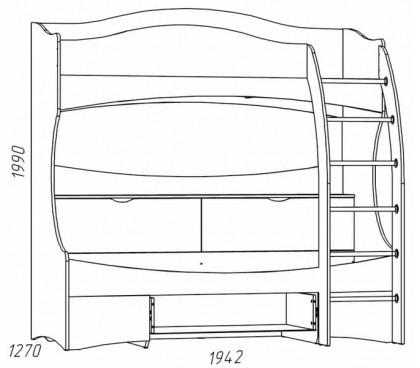 схема «Прованс Шери» НМ-011.74 Кровать 2-х ярусная