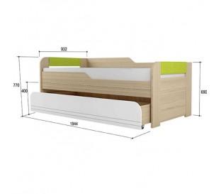 «Стиль 900.1» Кровать 2-х уровневая вставка лайм