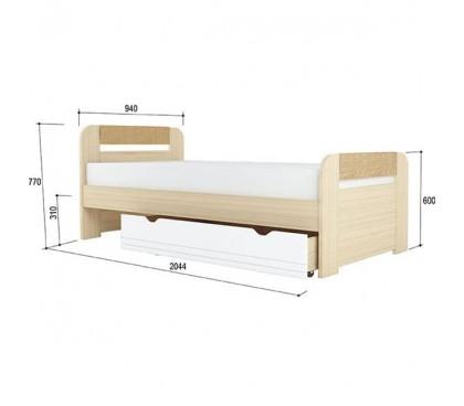«Стиль 900.3» Кровать 900х2000 вставка кофе с ящиком
