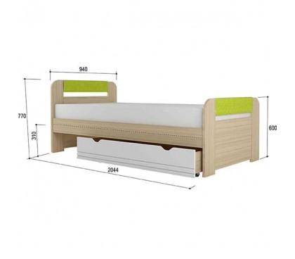 «Стиль 900.3» Кровать 900 х 2000 вставка лайм с ящиком