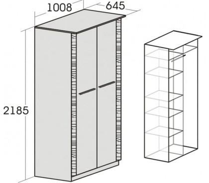 «Элана» Шкаф 2-дверный для одежды наполнение