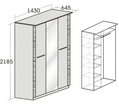 «Элана» Шкаф 3-дверный с зеркалом наполнение