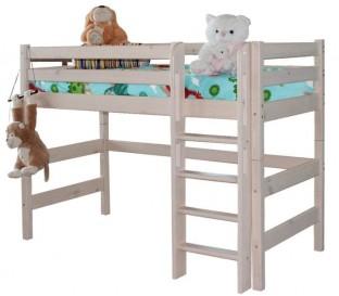 «Соня» Кровать-5 полувысокая с прямой лестницей цвет Белый