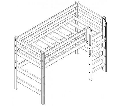 «Соня» Кровать-5 полувысокая с прямой лестницей схема