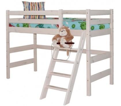 «Соня» Кровать-6 полувысокая с наклонной лестницей цвет Белый