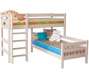 «Соня» Кровать-7 угловая двухъярусная с прямой лестницей цвет Белый