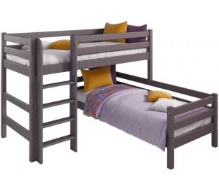 «Соня» Кровать-7 угловая 2 ярусная с прямой лестницей цвет Лаванда