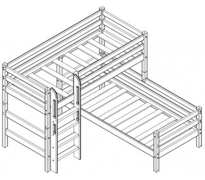 «Соня» Кровать-7 угловая с прямой лестницей схема