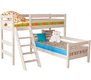 «Соня» Кровать-8 угловая 2-х ярусная с наклонной лестницей цвет Белый