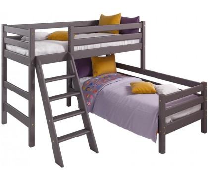 «Соня» Кровать-8 угловая 2-х ярусная с наклонной лестницей цвет Лаванда