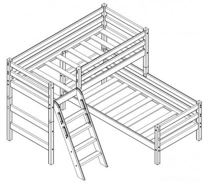 «Соня» Кровать-8 угловая 2-х ярусная с наклонной лестницей схема