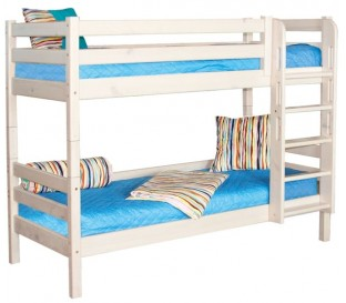 «Соня» Кровать-9 двухъярусная с прямой лестницей цвет Белый