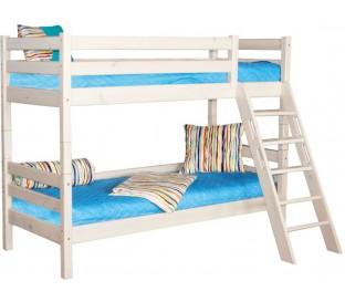 «Соня» Кровать-10 двухъярусная с наклонной лестницей цвет Белый