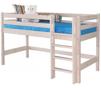 «Соня» Кровать-11 низкая с прямой лестницей цвет Белый