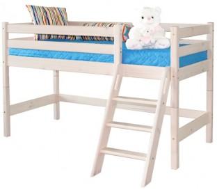 «Соня» Кровать-чердак 12 низкая с наклонной лестницей цвет Белый