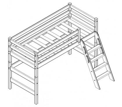«Соня» Кровать-чердак 12 низкая с наклонной лестницей схема