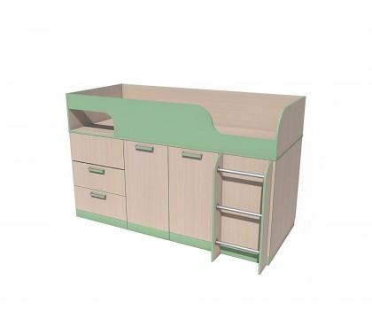 «Рико дуб Модерн» НМ-011.55М Кровать с поворотным столом фасад зелёный
