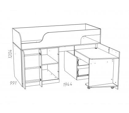 «Рико дуб Модерн» НМ-011.55М Кровать с поворотным столом наполнение