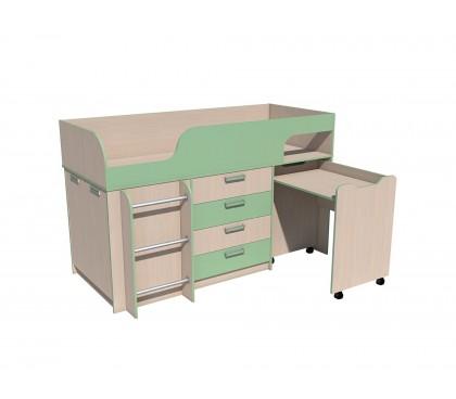 «Рико Модерн» НМ-011.56М Кровать с выкатным столом фасад зелёный