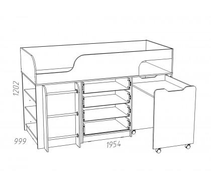 «Рико Модерн» НМ-011.56М Кровать с выкатным столом наполнение