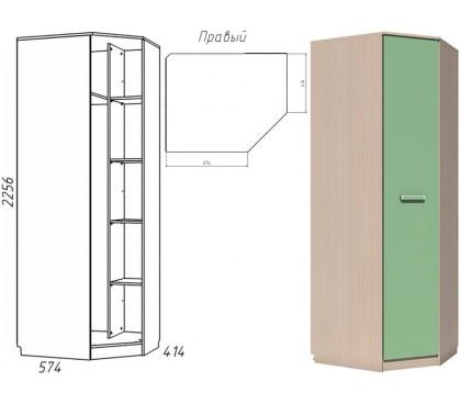 «Рико Модерн» НМ-013.04-02 Шкаф угловой 1-дверный фасад зелёный правый