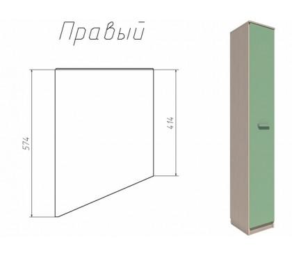 «Рико Модерн» НМ-013.05-01 Шкаф скошенный фасад зелёный правый